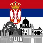foto of serbia  - The national flag of the Serbia and the contour image of architectural landmarks of this country - JPG