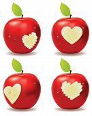 picture of love bite  - Fresh red apple with heart shaped bite - JPG