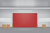 foto of red siding  - Illustration of shutter door outside factory red color - JPG
