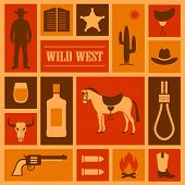 stock photo of cowboys  - wild west vector background - JPG