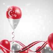 image of twist  - Flag of Singapore on balloon - JPG