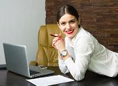 picture of beautiful lady  - Beautiful business lady in office Beautiful business lady in office with a notebook - JPG
