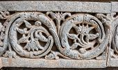 picture of karnataka  - A floral motif on the wall at the 13th Century temple of Somanathapur - JPG