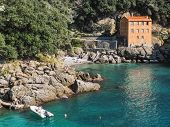 picture of promontory  - A small bay in the promontory of Portofino  - JPG