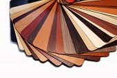 stock photo of laminate  - Color swatches laminated chipboard and color swatches countertops - JPG