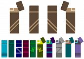 foto of cigarette lighter  - clipart of the stylized cigarette lighters of different forms - JPG
