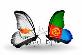 foto of eritrea  - Two butterflies with flags on wings as symbol of relations Cyprus and Eritrea - JPG