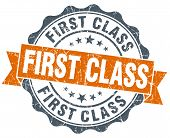 stock photo of first class  - first class orange vintage seal isolated on white - JPG