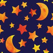 image of moon stars  - Seamless pattern with moon and stars - JPG