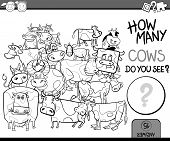 foto of perception  - Cartoon Illustration of Education Counting Game for Coloring Book - JPG