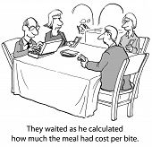 image of love bite  - Cartoon of businessman accountant who is curious how much the meal had cost per bite - JPG