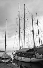 image of uss constitution  - old sailing boat in the harbour of le grazie near la spezia - JPG