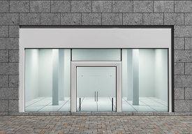 stock photo of department store  - Modern Empty Store Front with Big Windows - JPG
