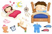 picture of counting sheep  - a vector of kids sleeping in bed - JPG