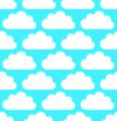foto of cumulus-clouds  - Cloud pattern with white round cumulus clouds over bright blue teal - JPG