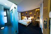 foto of comfort  - Interior of modern comfortable hotel room - JPG