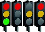 picture of traffic light  - Traffic lamps lights isolated on white - JPG
