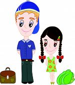 stock photo of friendship belt  - School boy and girl are going to school - JPG