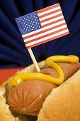 foto of wiener dog  - The patriotic American hot dog shot close up with little American flag in wiener - JPG