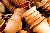 picture of flower pot  - Clay flower pots lying in stacks - JPG