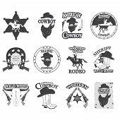 picture of cowboys  - Set of vintage cowboy emblems - JPG