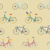 ������, ������: Seamless pattern with colorful hand drawn bikes