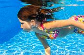 picture of swimming  - Happy active underwater child swims in pool - JPG