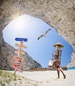 stock photo of shipwreck  - The famous Navagio Shipwreck beach in Zakynthos island Greece - JPG