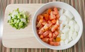 image of onion  - Cuisine and Food Chopped Tomatoes Onions and Spring Onions on Wooden Cutting Board - JPG