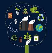 pic of environment-friendly  - Environment and ecological conservation concept with green icons for recycling - JPG