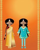 stock photo of salwar  - an illustration of two indian ladies wearing sari and salwar kameez on an orange background with gold flowers - JPG