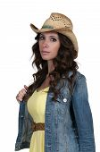 pic of redneck  - Beautiful young country girl woman wearing a stylish cowboy hat - JPG