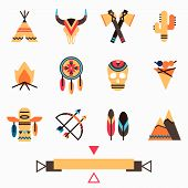 stock photo of wigwams  - Tribal indigenous icons set with ethnic american symbols - JPG