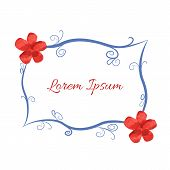 pic of embellish  - Blue frame with embellishments and red stylized flowers - JPG