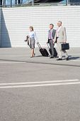 picture of carry-on luggage  - Businesspeople with luggage walking on street - JPG