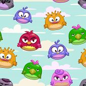 stock photo of angry bird  - Vector seamless pattern with cartoon funny birds in the sky - JPG