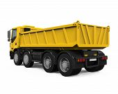 foto of dump-truck  - Yellow Tipper Dump Truck isolated on white background - JPG