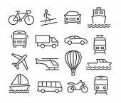 stock photo of ski boat  - Gray Transport line  icons on white background - JPG