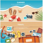 pic of passport template  - summer and travel flat banner template for web and print - JPG