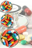 picture of oral  - Colorful of oral medications Dish Isolated with Clopping Path on Medical Background - JPG