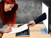 picture of contract  - sexy businesswoman signing online insurance contract in office - JPG