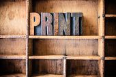 image of typing  - The word PRINT written in vintage wooden letterpress type in a wooden type drawer - JPG