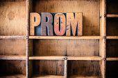 foto of senior prom  - The word PROM written in vintage wooden letterpress type in a wooden type drawer - JPG