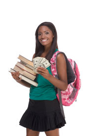 stock photo of holding money  - education financial aid Ethnic black African - JPG