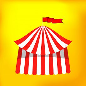stock photo of circus tent  - Circus Tent Icon Isolated on Yellow Background - JPG