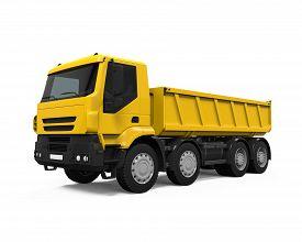 stock photo of dumper  - Yellow Tipper Dump Truck isolated on white background - JPG