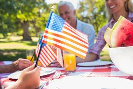 stock photo of independent woman  - Happy family having picnic and holding american flag on a sunny day - JPG