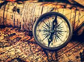 Travel geography navigation concept background - vintage retro effect filtered hipster style image o poster