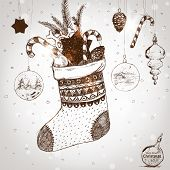 picture of taper  - Christmas hand drawn sock for xmas design - JPG