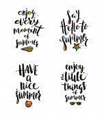 Set of Summer holidays greetings. Summer greeting. Summer quote. Summer vacation. Summer vector. Sum poster